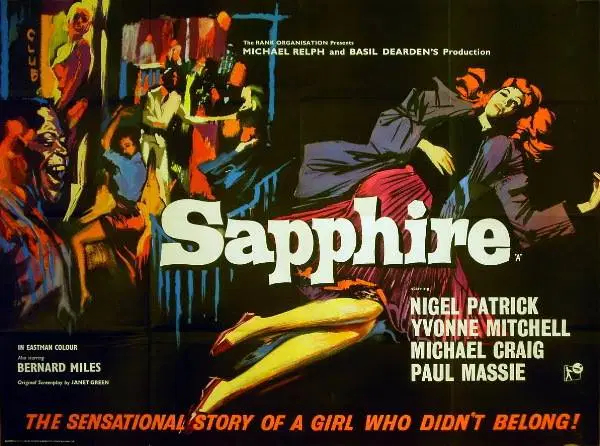 "Poster for Sapphire with the tagline ""The sensational story of a girl who didn't belong"""