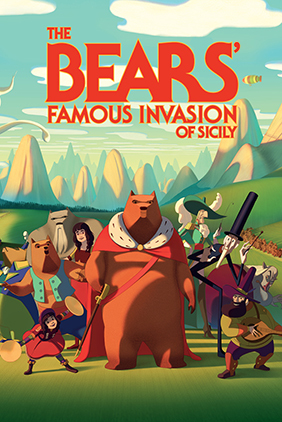 Illustrated bear wearing a regal robe with a number of human and bear character standing behind him
